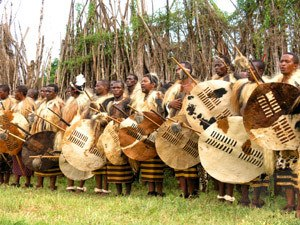 Culture of Swaziland - Swazi warriors at the incwala ceremony.