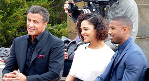 Michael B. Jordan - Image: Sylvester Stallone, Tessa Thompson, and Michael B. Jordan promoting Creed at the Philadelphia Art Museum