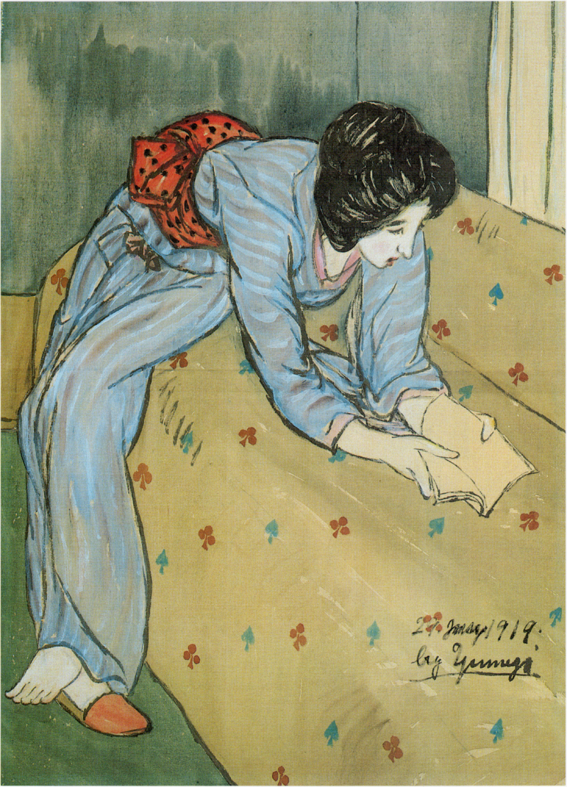 TakehisaYumeji-1919-Woman Reading a Book on a Sofa.png