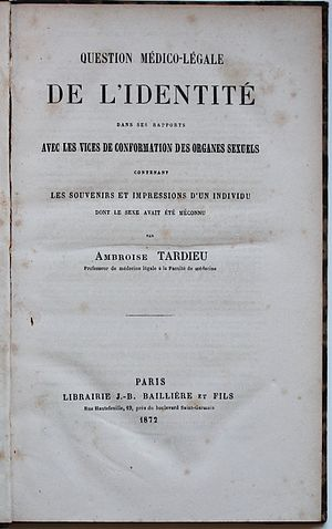 Herculine Barbin - Title page of Ambroise Tardieu's 1872 book in which excerpts of Herculine Barbin's memoirs were first published.