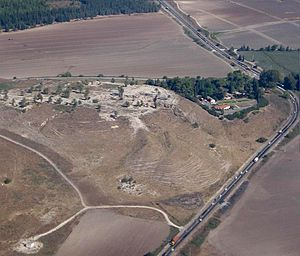 Battle of Megiddo (609 BC) -  Aerial view of Tel Megiddo from the south east