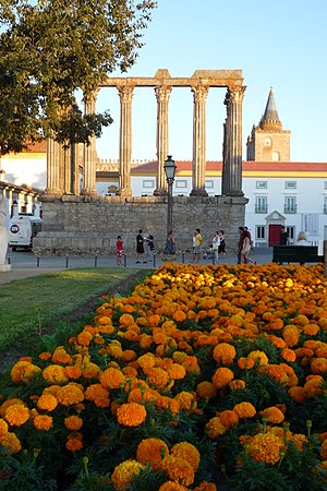 Roman Temple of Évora - The manicured gardens of the historical square, with the Temple, the museum (formerly the Archbishop's palace) and the northern tower of the cathedral in the background