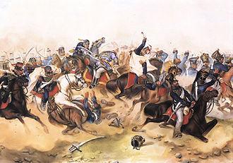 Battle of Tápióbicske - Than Mór: Cavalry fight in the battle of Tápióbicske with the duel of Alajos Sebő and Hermann Riedesel