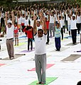 The Defence Secretary, Shri Sanjay Mitra performing Yoga, on the occasion of the 4th International Day of Yoga 2018, in New Delhi on June 21, 2018.JPG