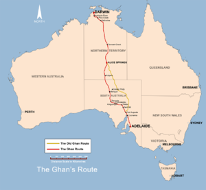 Australian Overland Telegraph Line - The (subsequent) Adelaide-Darwin railway follows the route of the Telegraph Line, using the easternmost (yellow) path. The railway was finished as far as Alice Springs on 6 August 1929, and as far as Darwin in 2003.