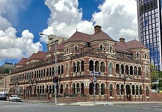 The Mansions, Brisbane - George Street corner Margaret Street façade of the Mansions.