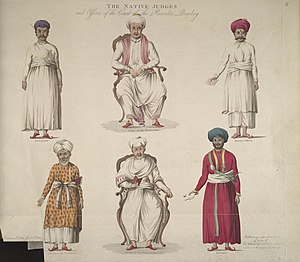 Judge - These drawings were taken from life in 1758. From left to right, top row: 1. Interpreter, Rhowangee Sewagee. 2. Judge of the Hindoo Law, Antoba Crustnagee Pundit. 3. Hindoo Officer, Lellather Chatta Bhutt. From left to right, bottom row: 4. Officer to the Mooremen, Mahmoud Ackram of the Codjee order or priesthood of the cast of Moormens. 5. Judge of the Mohomedan Law, Cajee Husson. 6. Haveldar, or summoning Officer, Mahmound Ismael'.