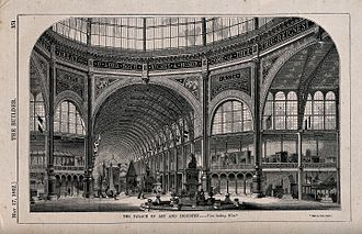 1862 International Exhibition - Interior view of the Palace of Art and Industry from beneath the eastern dome looking west along the nave.