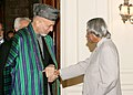 The President of Afghanistan, Mr. Hamid Karzai shaking hands with the President, Dr. A.P.J. Abdul Kalam, in New Delhi on November 17, 2006.jpg