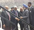 The Prime Minister, Dr. Manmohan Singh being seen off by the Chief Minister of Jammu and Kashmir, Shri Mufti Mohammad Sayeed at the Leh Airport, in Jammu & Kashmir on June 12, 2005.jpg