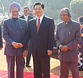 The Prime Minister, Dr. Manmohan Singh shaking hands with the President of the People's Republic of China, Mr. Hu Jintao, at a Ceremonial Reception, in New Delhi on November 21, 2006.jpg
