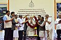 The Prime Minister, Shri Narendra Modi being welcomed at the foundation stone laying ceremony of various projects in Goa.jpg