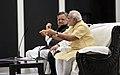 The Prime Minister, Shri Narendra Modi interacting with students at the auditorium of Education City Jawanga, Dantewada in Chhattisgarh on May 09, 2015. The Chief Minister of Chhattisgarh, Dr. Raman Singh is also seen.jpg