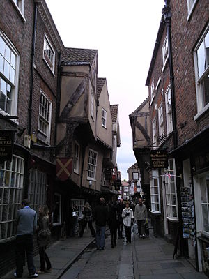 The Shambles - Buildings overhang the street by several feet