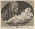 The Virgin in prayer, looking at the sleeping infant Christ, in an oval frame, after Reni MET DP841172.jpg