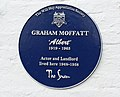 The Will Hay Appreciation Society's blue plaque commemorating actor and landlord Graham Moffatt, unveiled on 18th August 2019, on the wall of the Swan pub in Braybrooke, Northamptonshire.jpg