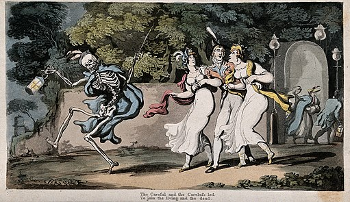 The dance of death; the careless and the careful. Coloured a Wellcome V0042005