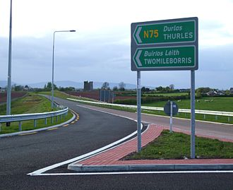 N75 road (Ireland) - The N75 close to its junction with the M8. This section of the N75 opened in December 2008, bypassing Two-Mile Borris in the process.