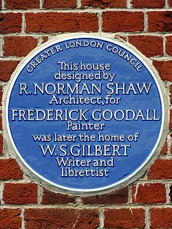 This house designed by norman shaw architect for frederick goodall painter was later the home of w.s. gilbert writer and librettist