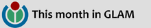 """This month in GLAM"" next to Wikimedia logo"