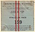 Ticket Théatre National de l'Opéra, Parijs April 1959.jpg