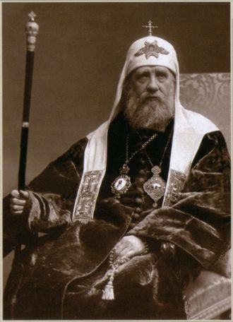 Cowl - St. Tikhon of Moscow wearing the patriarchal white koukoulion