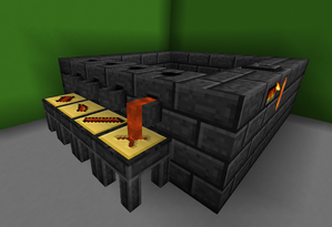 Minecraft mods - The mod Tinkers Construct adds foundries to the game, which can be used to smelt raw metals into parts for custom-made tools and weapons.
