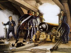 Firing of an 18-pounder. Engraving by Louis-Philippe Crépin.