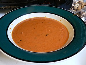 A bowl of tomato soup