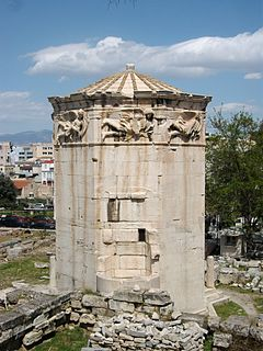 Tower of the Winds Clocktower in Athens, Greece, the worlds first meteorological station
