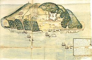 Tortuga (Haiti) - A drawing of Tortuga island from the 17th century.
