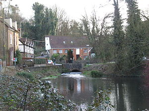 Loose Stream - Upper Crisbrook Mill, converted to residential, showing overshot wheel