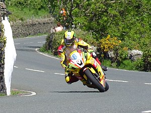 Tower Bends - Ian Hutchinson at Tower Bends in the Supersport A race during 2012 TT races