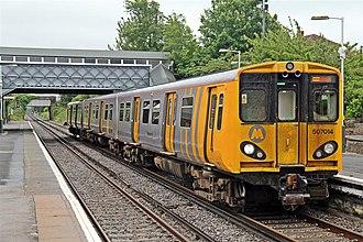 Wallasey Grove Road railway station - A Merseyrail Class 507 at Wallasey Grove Road.