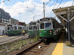 Trains at Lechmere station, August 2018.JPG