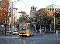 Tram in Sofia near St Nedelya Church 2012 PD 003.jpg