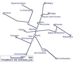 Trams in Versailles - Image: Tramway de Versailles plan (1914)