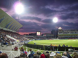 Interior view of Trent Bridge cricket stadium during a night-time game