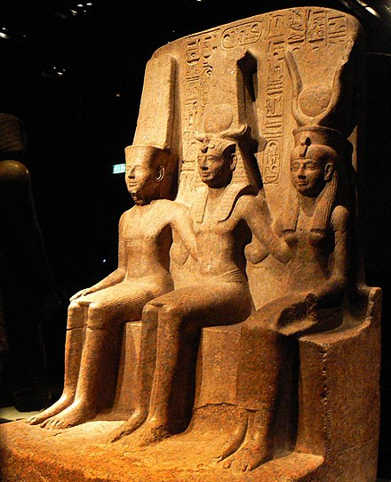 Ramesses II with Amun and Mut, Museo Egizio, Turin, Italy Triad of Ramesses II with Amun and Mut.jpg