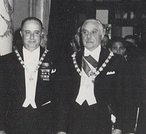 Nicaragua - President Anastasio Somoza García (left), with Dominican President Rafael Trujillo, 1952