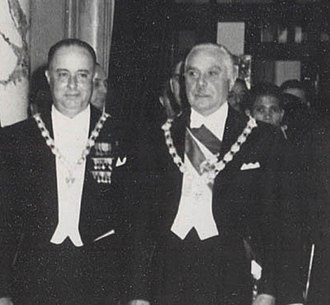 Rafael Trujillo - Rafael Trujillo (right) and guest Anastasio Somoza at the inauguration of Héctor Trujillo as president in 1952
