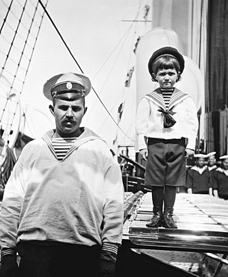 Alexei Nikolaevich, Tsarevich of Russia - Alexei (right) with his sailor nanny Andrei Dereven'ko aboard the Imperial yacht Standart (1908)
