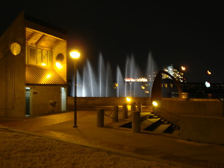 Tulsa's River Parks contain many monuments and attractions, such as these fountains. Tulsa River Parks Fountains.jpg