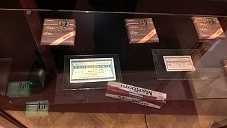 Tuzex - Display of a Tuzex counter in the Museum of Communism, Czech Republic