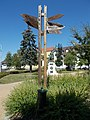 Twin town fingerpost and World War I memorial, 2019 Tapolca.jpg