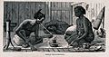 Two Malay men and a woman sit and recline on the floor smoki Wellcome V0019175.jpg
