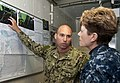 U.S. Navy Rear Adm. Ann Phillips, right, the commander of Expeditionary Strike Group 2, talks with Lt. Christopher Kent during a visit aboard the Royal Netherlands Navy frigate HNLMS Evertsen (F805) June 14 130614-N-ZL691-058.jpg