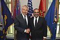 U.S. Secretary of Defense Chuck Hagel, left, poses with Prince Salman bin Hamad bin Isa Al Khalifa, the crown prince and first deputy prime minister of Bahrain, at the Pentagon in Arlington, Va., June 7, 2013 130607-D-NI589-308.jpg
