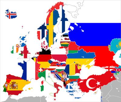 Nazioni appartenenti alla UEFA con le rispettive bandiere.