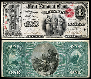 National Bank Note - Image: US NBN IL Lebanon 2057 Orig 1 400 C